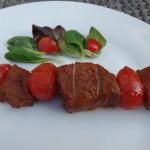 Biefstukspies met tomaat