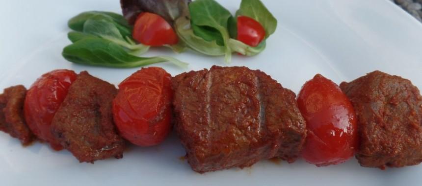 Biefstukspies met tomaat (BBQ)
