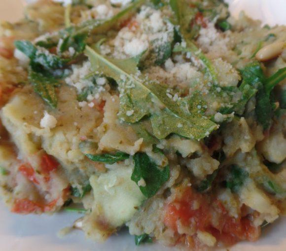 Rucolastamppot met tomaat en Parmezaanse kaas fodmap