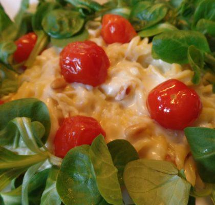 Romige pasta met veldsla fodmap